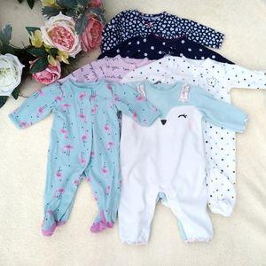 Bundle of six baby girl's sleeper footies